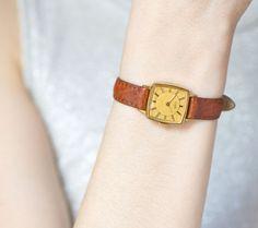 Elegant lady's wristwatch vintage square woman's by SovietEra