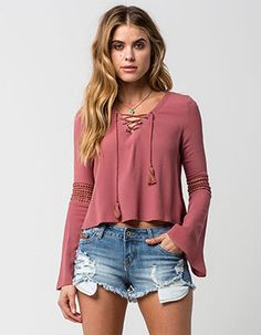 FULL TILT Womens Lace Up Bell Sleeve Top Purple