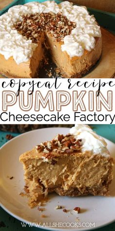 Pretty much everyone who has been to to the well-know restaurant has a Cheesecake Factory menu favorite. Well, of course pumpkin cheesecake is my favorite because–I absolutely LOVE pumpkin.Pumpkin is one of those yummy ingredients that I real Brownie Desserts, Mini Desserts, Tolle Desserts, Pumpkin Cheesecake Recipes, Great Desserts, Party Desserts, Fudge Recipes, Pumpkin Recipes, Delicious Desserts