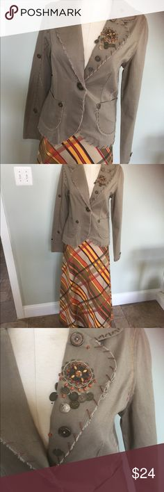 """G& H Artsy Blazer/Jacket Very cute Artsy style Jacket/Blazer.Made by G & H .Nice condition with no seen wear.Marked a Sz M but seems small .Please check your measurements.Measures: Bust 35"""",waist 31"""" & length is 24"""" G & H Jackets & Coats Blazers"""