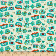 Riley Blake Kitchen Dishes Teal from @fabricdotcom  Designed by Andrea Muller for Riley Blake Designs, this cotton print fabric is perfect for quilting, apparel, and home decor accents. Colors include cream, aqua, shades of pink, shades of green, and red.