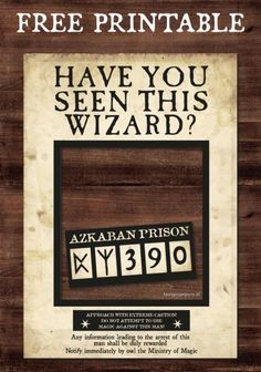 harry potter room decor Have you seen this wizard free printable. Azkaban Prison Mug Shot Printable. Creative Harry Potter Birthday Party Ideas to pull off the best wizard celebration. Magic Wands, Butterbeer recipes, DIY Quidditch snitches and more! Baby Harry Potter, Harry Potter Baby Shower, Harry Potter Motto Party, Harry Potter Fiesta, Harry Potter Halloween Party, Harry Potter Classroom, Harry Potter Bedroom, Theme Harry Potter, Harry Potter Wedding
