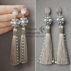 Buy Platinum Brush Earrings – earrings brushes, earrings-brushes, long earrings, long tassels … - Decoration For Home Handmade Beaded Jewelry, Tassel Jewelry, Jewelery, Bead Earrings, Tassel Earrings, Beaded Bracelets, Diy Schmuck, Schmuck Design, Diy Accessoires