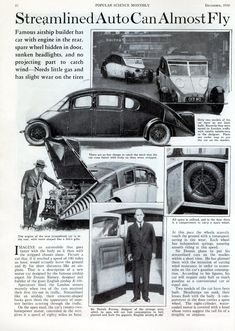"""""""Streamlined Auto Can Almost Fly"""": Sir Dennis Burney, designer of the British R-100 Airship, and the Burney Streamline Car, Popular Science, December 1930."""