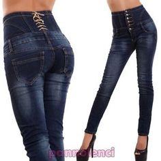 b82a1d736e9118 Dettagli su Jeans donna pantaloni vita alta aderenti corsetto skinny  sigaretta nuovi A1172