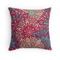 """ Beautiful colorful mandala pattern. Elegant indian design. "" Throw Pillows by Maria-So   Redbubble"
