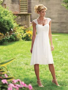 White Empire Square Tea Length Chiffon Dress... Neckline great to draw the eye upward and focus attention to the upper body & away from the hip area.