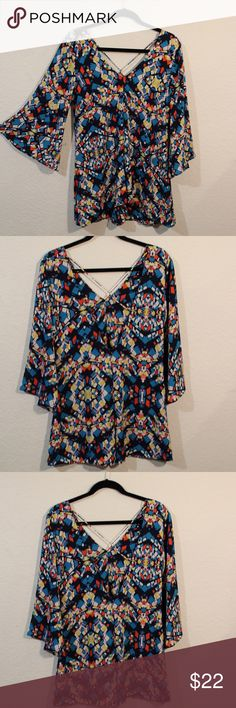 NWOT Sample Newbury Kustum Short Romper Boutique Multi colored  Romper with strapy back. It is a sample so size not indicated.  Model is a size small and it is roomy, so a smaller medium would fit in it nicely too.  100% polyester , so it won't shrink. It would look cute with tights and some booties or cute sandals. All offers are considered!😀 Newbury Kustom Shorts