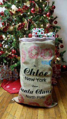 Santa christmas sack, handcrafted  $25 on etsy