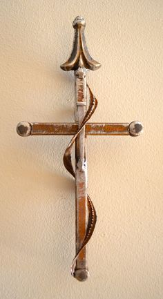 """The Way of Holiness"" a cross made from tornado scrap iron by CrossesByCatherine,"