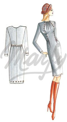 Marfy 2909 Marfy Patterns, Dress Sewing Patterns, Vintage Sewing Patterns, Clothing Patterns, Pattern Dress, Fashion Art, Fashion Outfits, Womens Fashion, Vestidos Retro