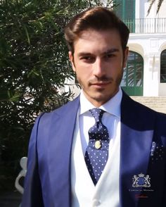 · Blue italian tailored fit wedding morning suit with matching blue pinstripe trousers. Tuxedo Wedding Suit, Wedding Suits, Wedding Morning Suits, Navy Tuxedos, Modern Suits, Suit Prices, Suit And Tie, Esquire, Etiquette