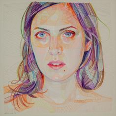 Over the past decade, Lui Ferreyra explains himself that he has developed a technique which implements geometric fragments that coalesce into complex color-fiel Pencil Drawings, Art Drawings, Color Pencil Art, Pencil Portrait, Art Model, Colored Pencils, Portraits, Art Gallery, Illustration Art