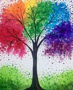 Trendy butterfly art painting for kids spring crafts Ideas Tree Watercolor Painting, Rainbow Painting, Rainbow Art, Diy Painting, Tree Painting Easy, Water Color Painting Easy, Canvas Painting Tutorials, Kids Rainbow, Watercolor Portraits