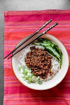 Ja Jiang Mein. Spicy pork over noodles.