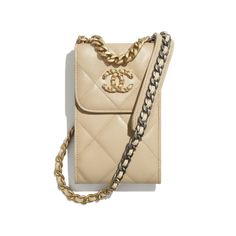 Shiny Goatskin, Gold-Tone, Silver-Tone & Ruthenium-Finish Metal Beige CHANEL 19 Phone Holder with Chain | CHANEL Chanel 19, Mode Chanel, Chanel Store, Chanel Pearls, Chanel News, Chanel Chain Bag, Chanel Wallet, Boutique Haute Couture, Bags