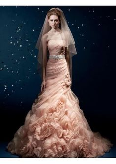 Pink mermaid style wedding dress