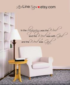 Scripture Wall Art, Vinyl Wall Art, Typography, Bible, Prayer Room, In the beginning was the Word, God's Word, John 1:1 War Room by LoveLineSigns on Etsy