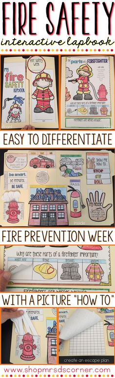 Fire Prevention Week is the time to observe, practice, and learn all about fire safety and ways to be prepared and stay safe in case of a fire. Use this interactive lapbook to commemorate the week. Includes 14 foldables to talk about escape plans, stop drop roll, P.A.S.S., and so much more! Only at Mrs. D's Corner.