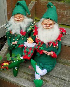 Vintage Santa Elf Dolls Pixie Lot Felt Outfits Handmade | eBay