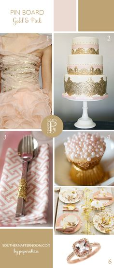Pink and Gold Pinboard full of soft pink and gold wedding images collected by @Paperwhites, a stationery boutique, shared on our blog southernafternoon.com