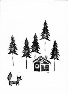 On the Hunt-linocut Sgraffito, Linolium, Lino Art, Linoleum Block Printing, Litho Print, Bullet Journal Art, Encaustic Art, Diy Christmas Cards, Christmas Aesthetic
