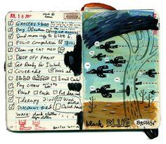 I love the idea of to do list and art! Stephanie K. Birdsong of shoulda-woulda-coulda, black blue brown Artist Journal, Artist Sketchbook, Sketchbook Pages, Art Journal Pages, Art Journals, Visual Journals, Sketchbook Ideas, Sketchbook Project, Smash Book