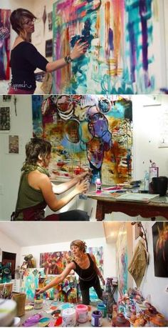 This is Flora Bowley - she's an artist in Portland that I've taken some classes from. I love these photos of her in her studio and they inspire me to focus more on my painting. Atelier Photo, Flora Bowley, Art Plastique, Famous Artists, Art Techniques, Art Studios, Artist At Work, Oeuvre D'art, Painting Inspiration