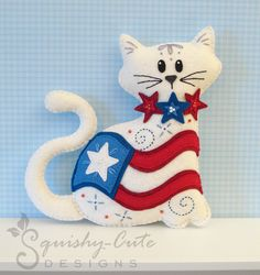 Stuffed Animal Pattern - Felt Plushie Sewing Pattern & Tutorial - Old Glory the 4th of July Cat - Patriotic Embroidery Pattern PDF. $5.00, via Etsy.