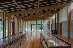 IMO Kase Table @ Te Wharehou o Waikaremoana by Tennent Brown Architects Timber Posts, Corporate Interiors, Building Code, Post And Beam, Commercial Architecture, Prefab, Building Materials, Pavilion, Construction