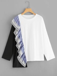 SHEIN offers Color Block Ruffle Tee & more to fit your fashionable needs. Trendy Fashion, Fashion Outfits, Stylish Dress Designs, Fashion Sewing, Diy Clothes, African Fashion, Shirt Blouses, Blouse Designs, Blouses For Women