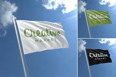 3D Flag Mock-Ups by Ahmad Muradi on @creativemarket