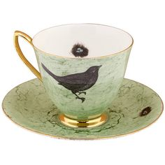 Vintage Bird Design Tea Cup And Saucer by Melody Rose ❤ liked on Polyvore featuring home, kitchen & dining, drinkware, kitchen, filler, vintage teacups, bird tea cup, vintage bone china, vintage tea cups and saucers and bone china