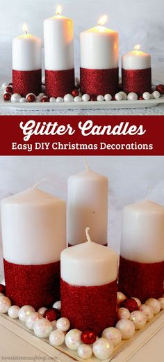 Glitter Candles - Easy DIY Christmas Decorations that you can make in less than 30 minutes!  Make them for yourself or as a DIY Christmas Gift for someone special.   Follow us for more great Christmas ideas and crafts.