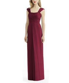 DescriptionAfter Six Style 6735Fulllength bridesmaid dressShirred strapsDraped bodiceEmpire skirtLux chiffon