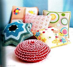 Crochet cushions - page thru for design charts