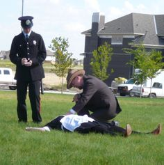 A Murder Mystery in the Park featuring the Nose Creek Players. www.cooperscrossing.ca #coopersairdrie