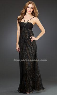 Black Spaghetti Straps Long/Floor-length Evening Dresses With Beading (MF5E8B)