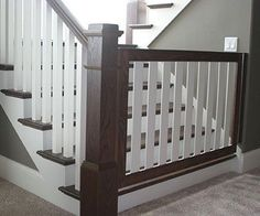 Wood Rail With Detail Metal Spindles Stairs Railings