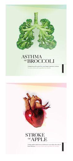Llamativa publicidad sobre los beneficios del brócoli y la manzana