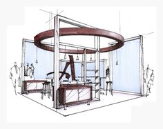 Artwork For Home Decoration Key: 3598814528 Interior Design Renderings, Interior Sketch, Interior Architecture, Web Banner Design, Kiosk Design, Display Design, Exhibition Booth Design, Exhibition Display, Industrial Design Sketch