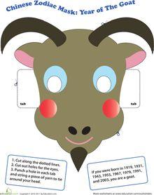 Chinese New Year: Make a Chinese Zodiac Mask: Year of the Goat