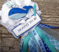 Whale Corsage Nautical Baby Shower Corsage by BloomingParty, $14.00