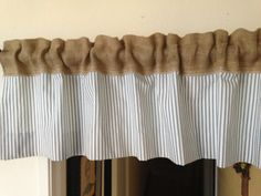 Burlap stripe blue short valance/Home and Living/House and Decor/Trending item on Etsy, $29.00