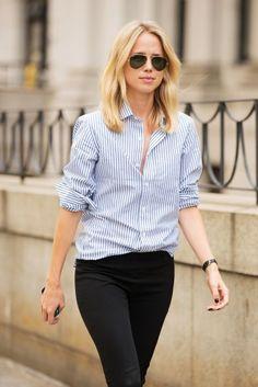 39 Beautiful Striped Shirt For Women Outfit Casual Outfits, Fashion Outfits, Womens Fashion, Fashion Trends, Fashion Weeks, Cheap Fashion, Curvy Fashion, London Fashion, Work Outfits