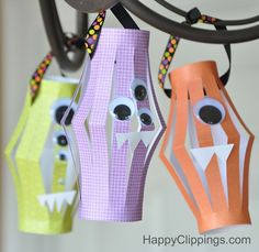"Halloween Monster Paper Lanterns (Kids Craft)-modify to be ""thought monsters"" that eat mean/negative thoughts instead of saying them. Cute Kids Crafts, Fun Projects For Kids, Halloween Crafts For Kids, Halloween Projects, Halloween Fun, Diy For Kids, Daycare Crafts, Halloween Parties, Kid Crafts"