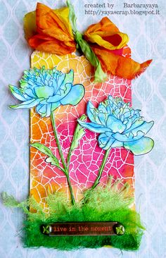 yaya scrap & more: SIMON MONDAY CHALLENGE: CITRUS WITH A TWIST! using Tim Holtz, Ranger, Idea-ology, Sizzix and Stamper's Anonymous products; Aug 2015