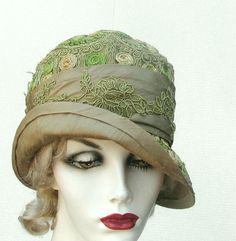 Elaborate Special Occasion Silk Fabric Embroidered 1920's Cloche Hat. $175.00, via Etsy.