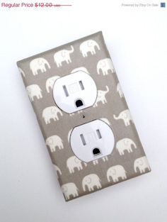 Gray Elephant Nursery Decor Outlet Plate Cover / by SSKDesigns, $9.00