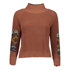 Patched Mock Neck Knit Sweater ($22) ❤ liked on Polyvore featuring tops, sweaters, brown top, mock neck top, mock neck sweater, patch sweater and brown knit sweater